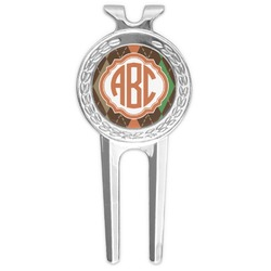 Brown Argyle Golf Divot Tool & Ball Marker (Personalized)