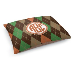 Brown Argyle Dog Pillow Bed (Personalized)