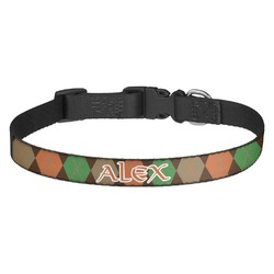 Brown Argyle Dog Collar - Multiple Sizes (Personalized)
