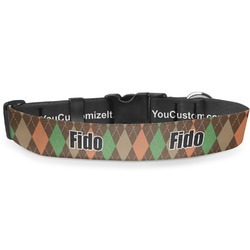 """Brown Argyle Deluxe Dog Collar - Extra Large (16"""" to 27"""") (Personalized)"""