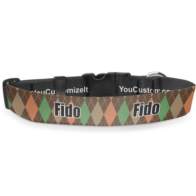 Brown Argyle Deluxe Dog Collar (Personalized)