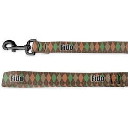 Brown Argyle Deluxe Dog Leash - 4 ft (Personalized)