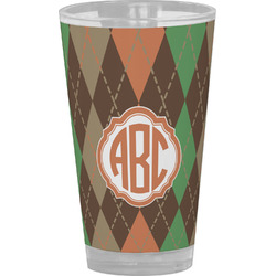 Brown Argyle Drinking / Pint Glass (Personalized)