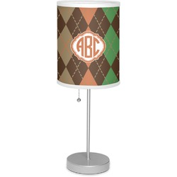 """Brown Argyle 7"""" Drum Lamp with Shade (Personalized)"""