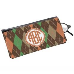 Brown Argyle Genuine Leather Eyeglass Case (Personalized)