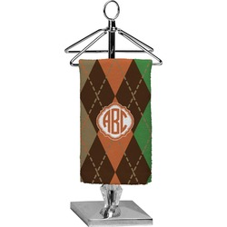 Brown Argyle Finger Tip Towel - Full Print (Personalized)