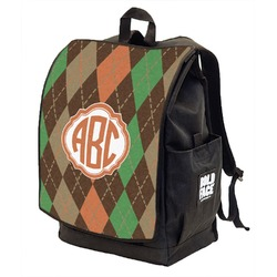 Brown Argyle Backpack w/ Front Flap  (Personalized)