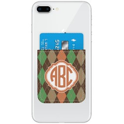 Brown Argyle Genuine Leather Adhesive Phone Wallet (Personalized)