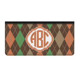 Brown Argyle Genuine Leather Checkbook Cover (Personalized)
