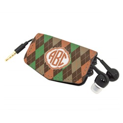 Brown Argyle Genuine Leather Cord Wrap (Personalized)