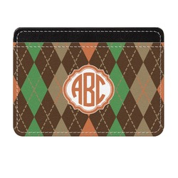Brown Argyle Genuine Leather Front Pocket Wallet (Personalized)