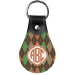 Brown Argyle Genuine Leather  Keychain (Personalized)