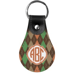 Brown Argyle Genuine Leather  Keychain (Personalized)
