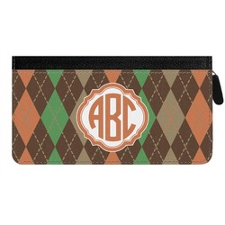 Brown Argyle Genuine Leather Ladies Zippered Wallet (Personalized)