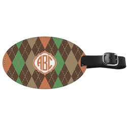 Brown Argyle Genuine Leather Oval Luggage Tag (Personalized)
