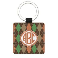 Brown Argyle Genuine Leather Rectangular Keychain (Personalized)