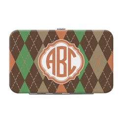 Brown Argyle Genuine Leather Small Framed Wallet (Personalized)