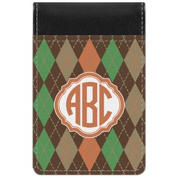 Brown Argyle Genuine Leather Small Memo Pad (Personalized)
