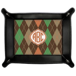 Brown Argyle Genuine Leather Valet Tray (Personalized)