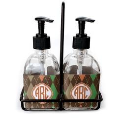 Brown Argyle Soap & Lotion Dispenser Set (Glass) (Personalized)