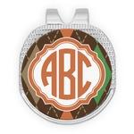 Brown Argyle Golf Ball Marker - Hat Clip