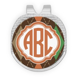 Brown Argyle Golf Ball Marker - Hat Clip