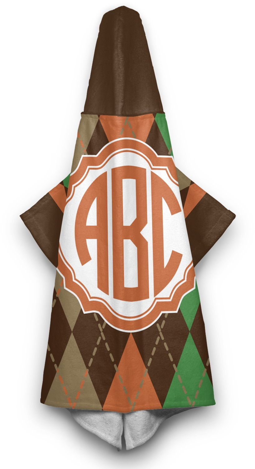 Brown Argyle Hooded Towel Personalized Youcustomizeit
