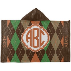 Brown Argyle Kids Hooded Towel (Personalized)