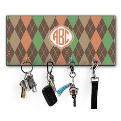 Brown Argyle Key Hanger w/ 4 Hooks w/ Monogram