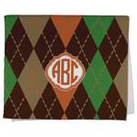 Brown Argyle Kitchen Towel - Full Print (Personalized)