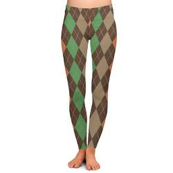 Brown Argyle Ladies Leggings (Personalized)