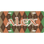 Brown Argyle Front License Plate (Personalized)
