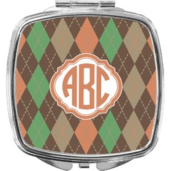 Brown Argyle Compact Makeup Mirror (Personalized)