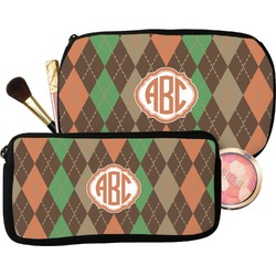 Brown Argyle Makeup / Cosmetic Bag (Personalized)