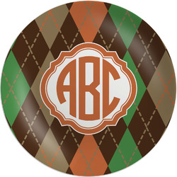 Brown Argyle Melamine Plate - 8