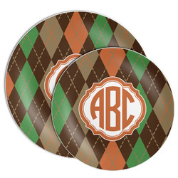Brown Argyle Melamine Plate (Personalized)