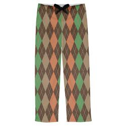 Brown Argyle Mens Pajama Pants (Personalized)