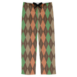 Brown Argyle Mens Pajama Pants (Personalized)