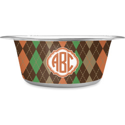 Brown Argyle Stainless Steel Dog Bowl (Personalized)
