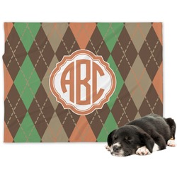 Brown Argyle Dog Blanket (Personalized)