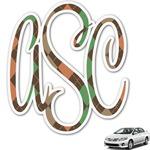 Brown Argyle Monogram Car Decal (Personalized)