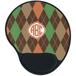 Brown Argyle Mouse Pad with Wrist Support