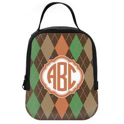 Brown Argyle Neoprene Lunch Tote (Personalized)