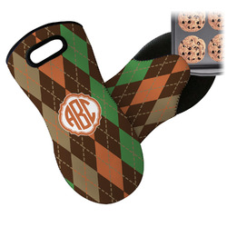 Brown Argyle Neoprene Oven Mitt (Personalized)