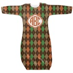 Brown Argyle Newborn Gown (Personalized)