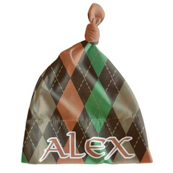 Brown Argyle Newborn Hat - Knotted (Personalized)