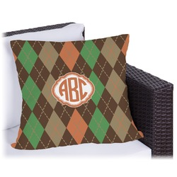 Brown Argyle Outdoor Pillow (Personalized)
