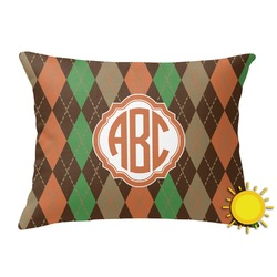 Brown Argyle Outdoor Throw Pillow (Rectangular) (Personalized)