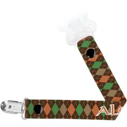 Brown Argyle Pacifier Clips (Personalized)