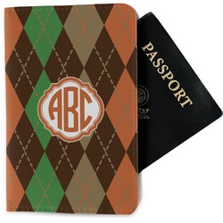 Brown Argyle Passport Holder - Fabric (Personalized)
